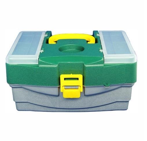 Caixa de Pesca c/ 4 Bandejas Especial - Verde e Amarelo