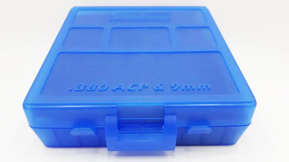 Caixa Shotgun para 100 Cartuchos Calibre 380/9mm Azul