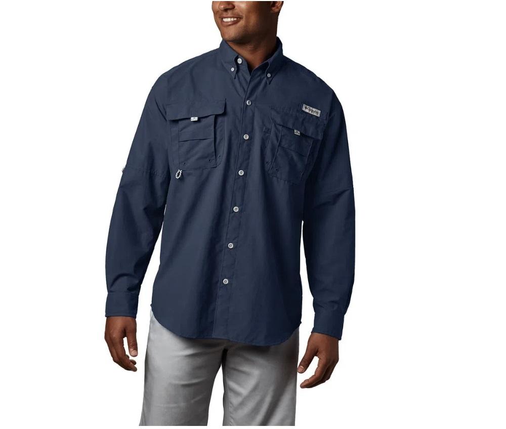 Camisa Masculina Columbia Bahama II L/S Collegiate Navy