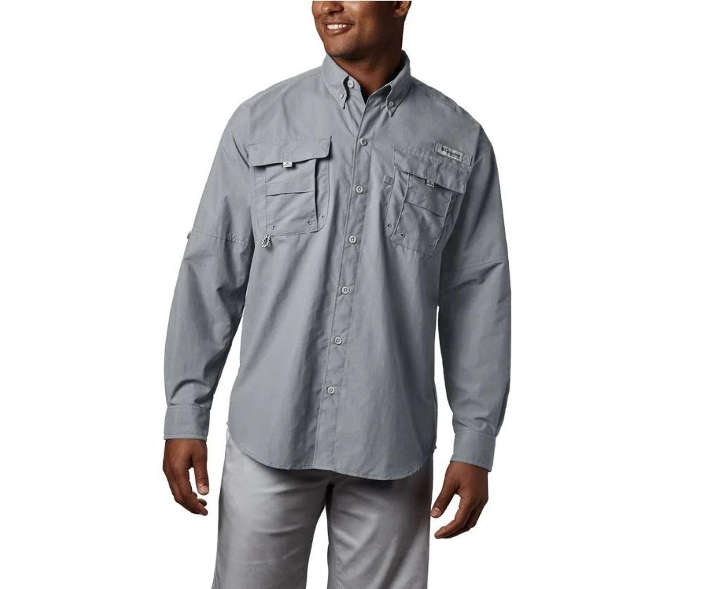 Camisa Masculina Columbia Bahama II L/S Cool Cinza