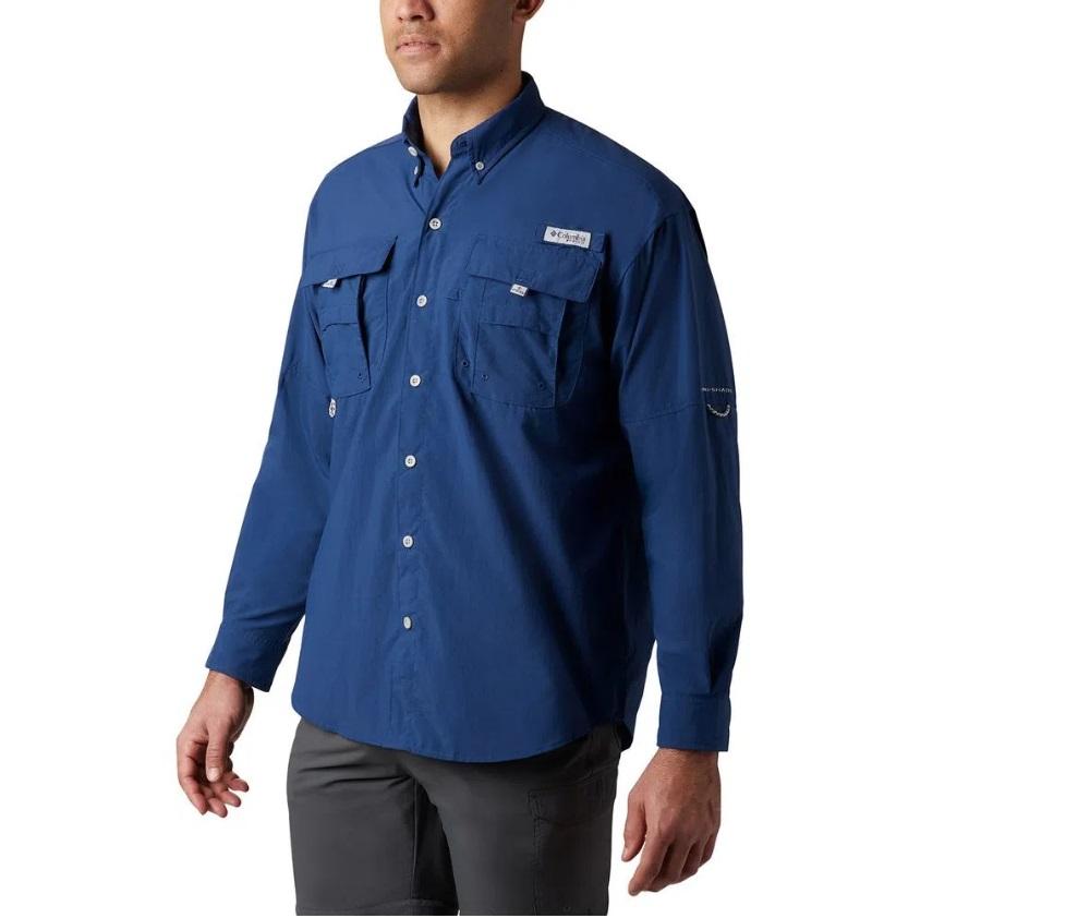 Camisa Masculina Columbia Bahama II Manga Longa Azul Marinho