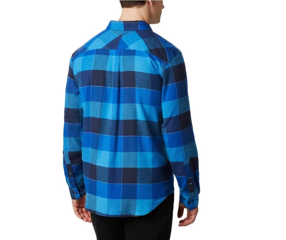 Camisa Masculina Columbia Flare Gun Stretch Flannel Azure Big Check Azul