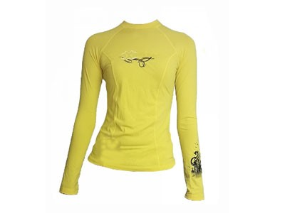Camisa X- Float Lycra Feminina UV50 Slim Fit Amarela