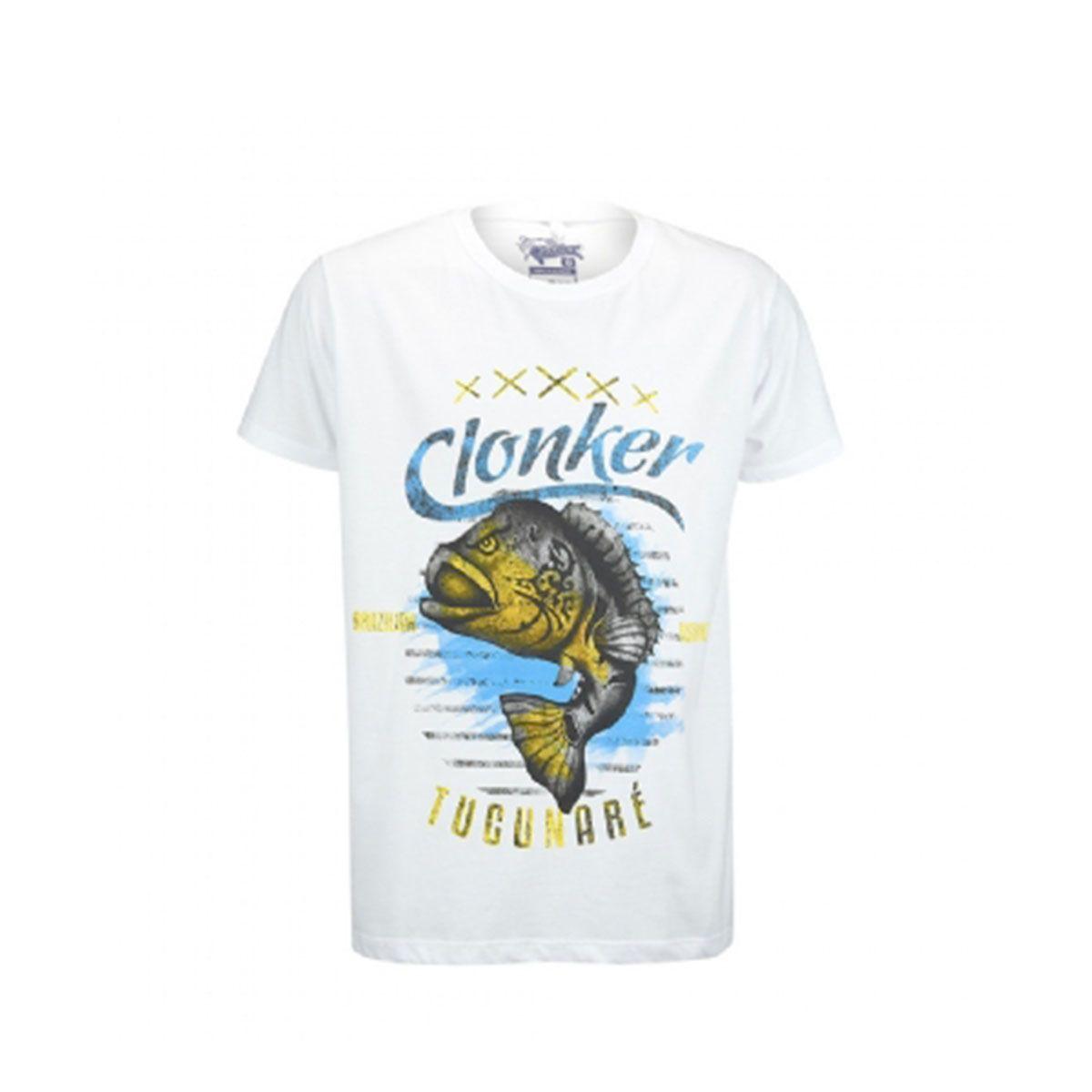 Camiseta Clonker Malha Branca Tucunaré
