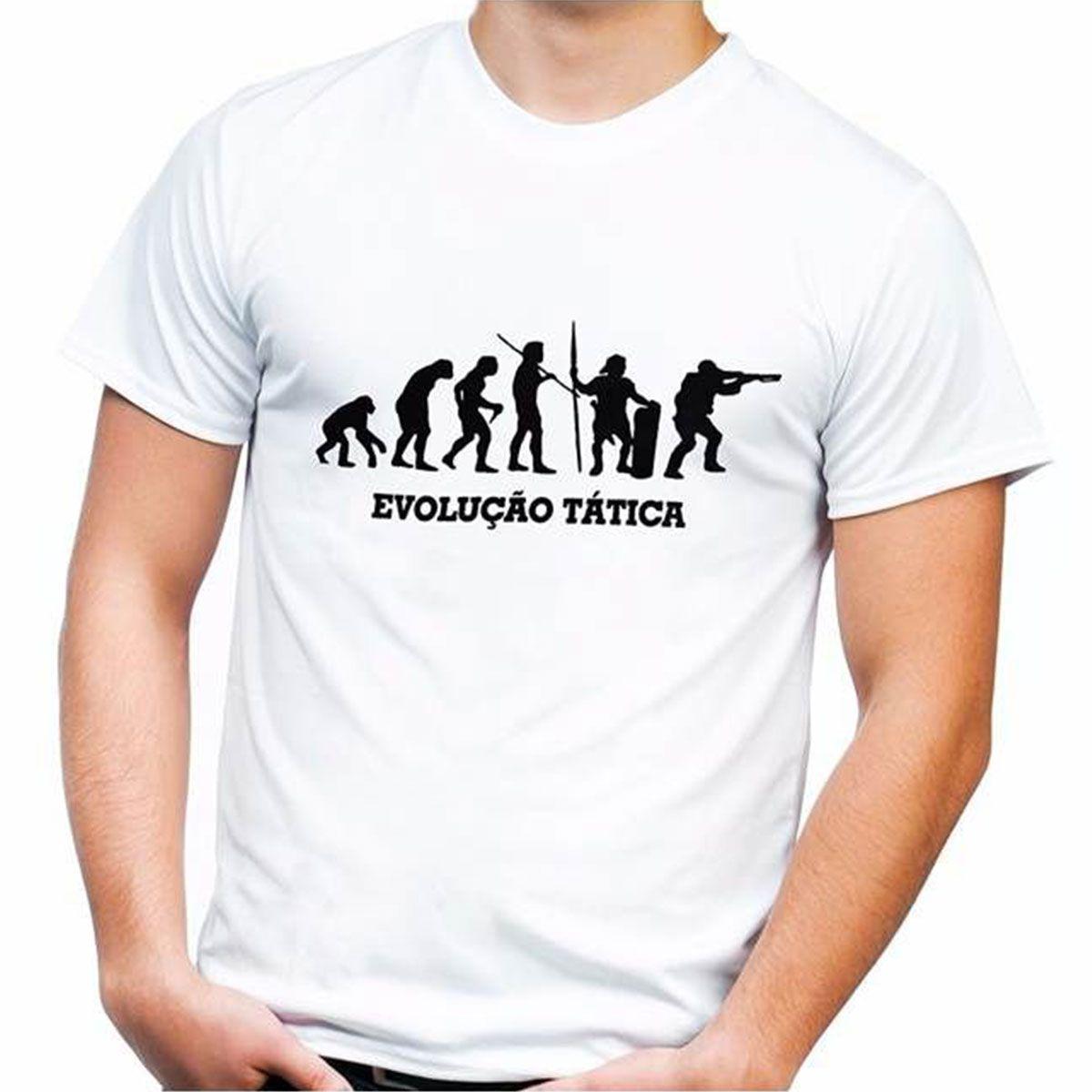Camiseta estampada Evolução Tática - Malha Branco