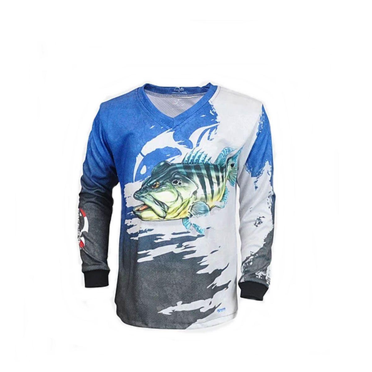 Camiseta Faca na Rede Evo Infantil Tucunaré Azul Extreme Dry