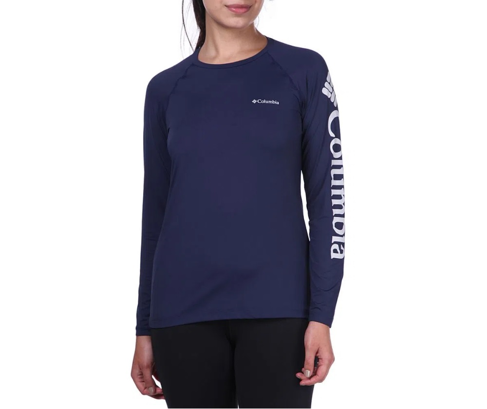 Camiseta Feminina Columbia Aurora Manga Longa Azul Carbon