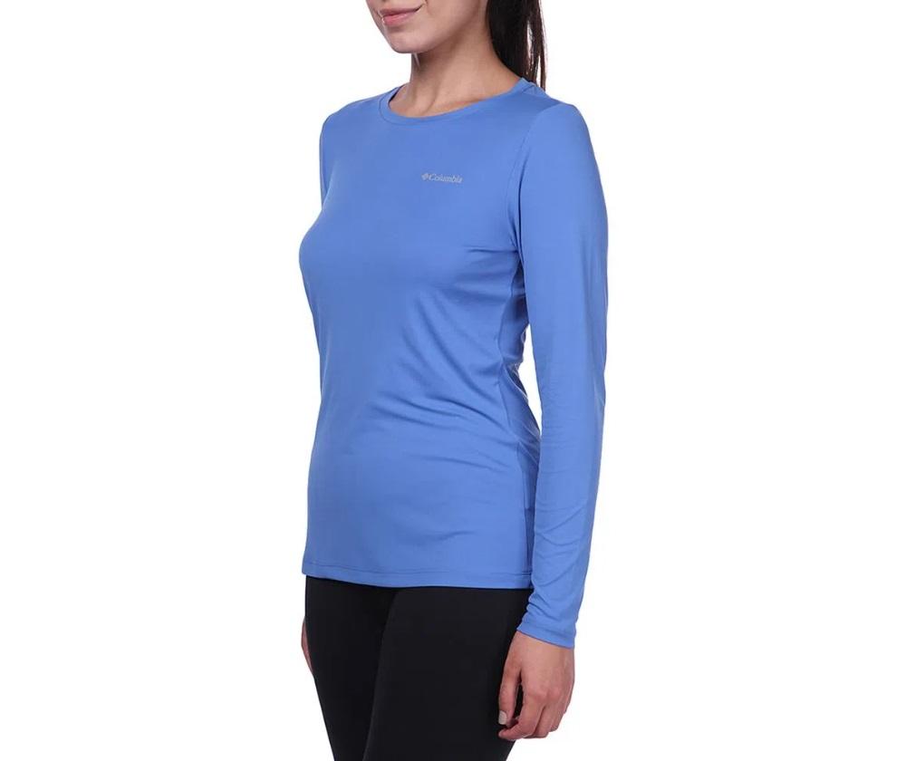 Camiseta Feminina Columbia Neblina Manga Longa Azul Carbon