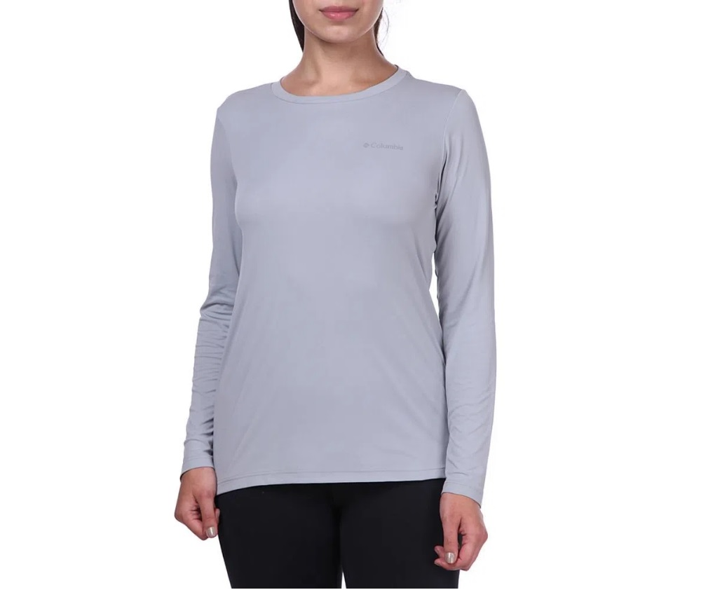 Camiseta Feminina Columbia Neblina Manga Longa Cinza