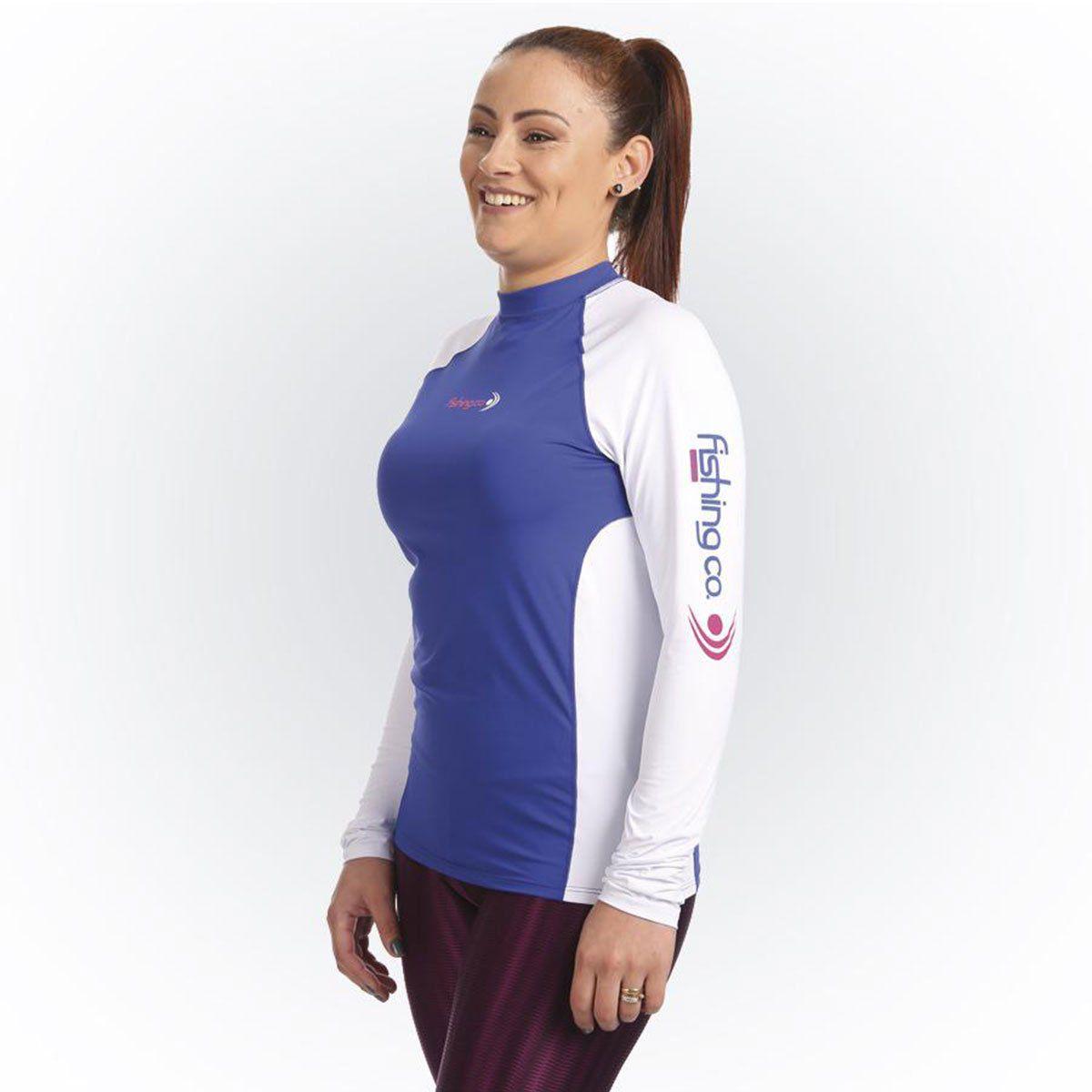 Camiseta Fishing Co Feminina com Recorte Royal e Branco