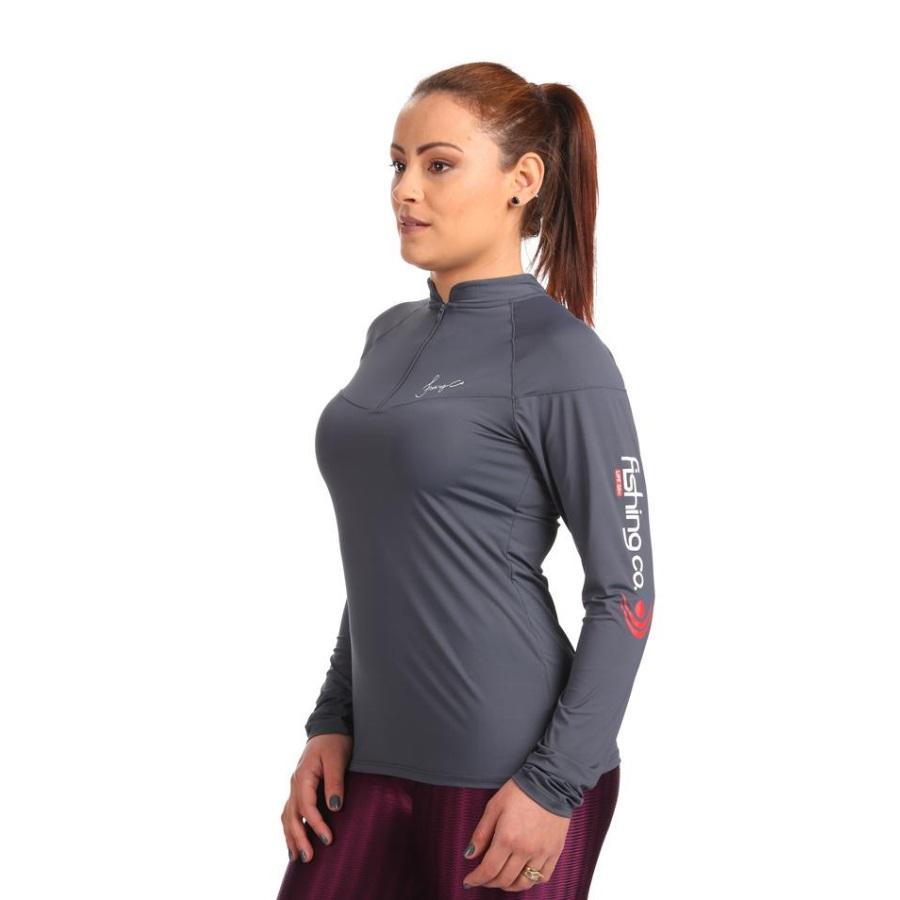 Camiseta Feminina Fishing Co Ziper Cinza Clip