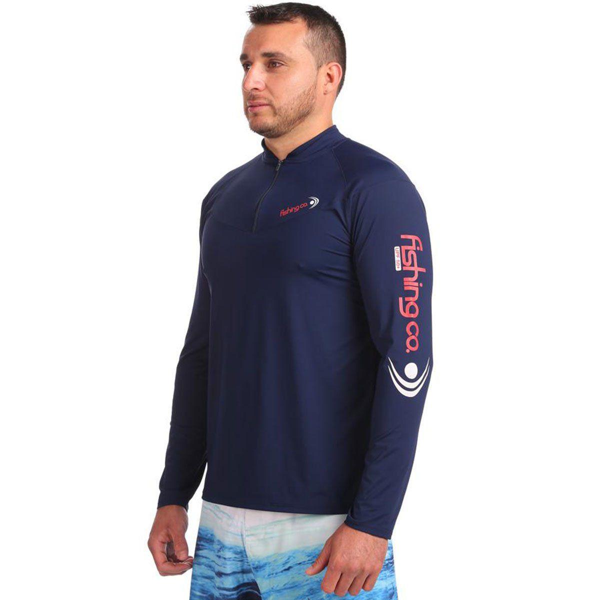 Camiseta Fishing Co Masculina Ziper Marinho