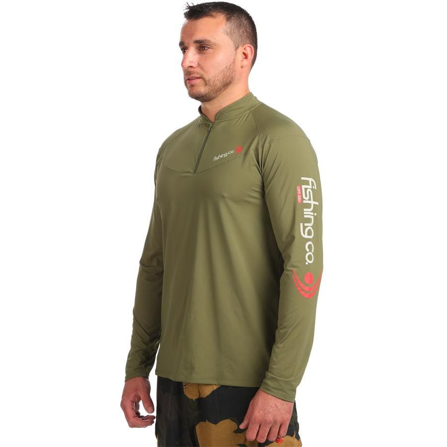 Camiseta Fishing Co Masculina Zíper Verde Militar