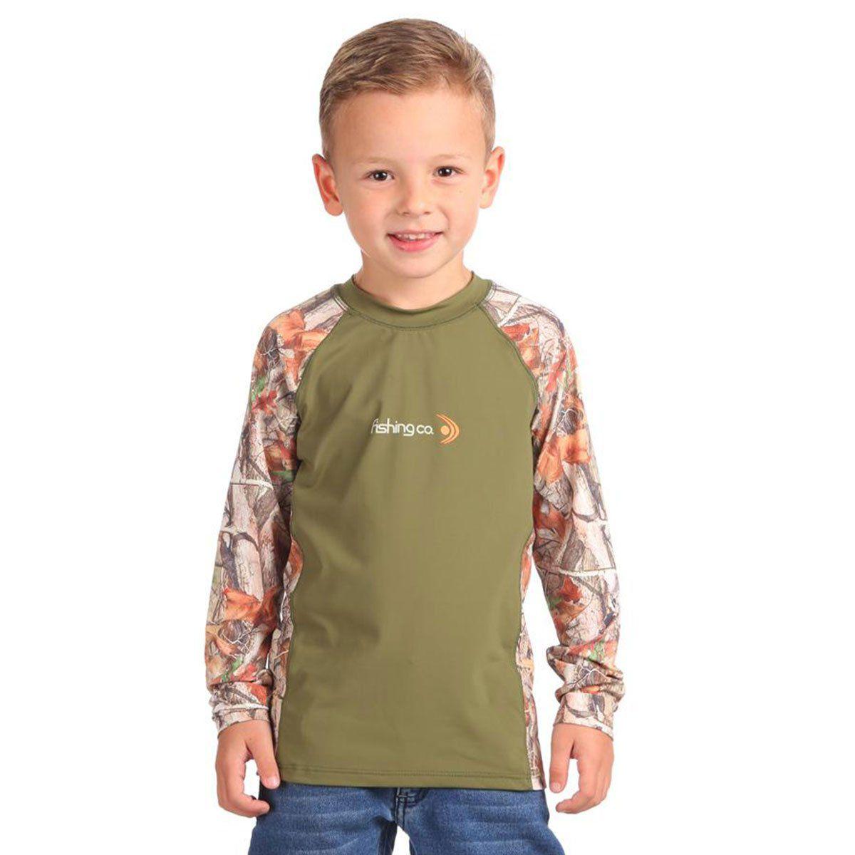 Camiseta Infantil Estampada Recorte Verde Militar/Selva