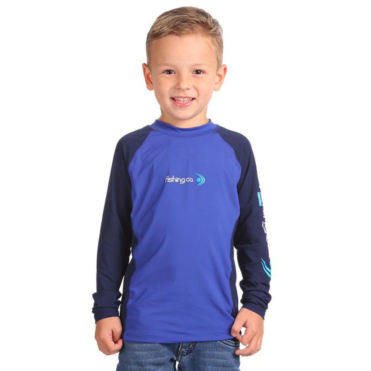 Camiseta Infantil Fishing Co Recorte Royal e Marinho