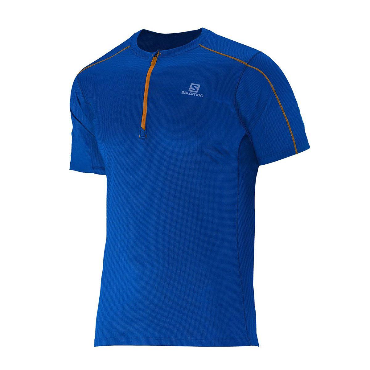 Camiseta Salomon Action 1/2 Zip Masculina Azul Royal
