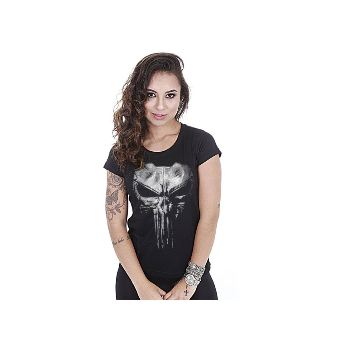 Camiseta Team Six Feminina Baby Look Punisher Plate Preto