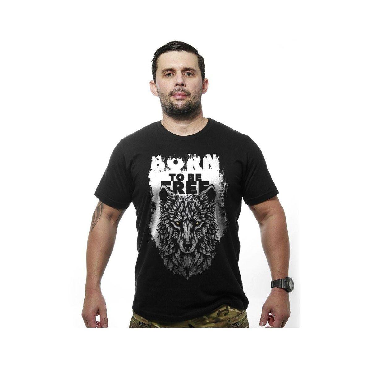 Camiseta Team Six Outdoor Wolf Born To Be Free Preto