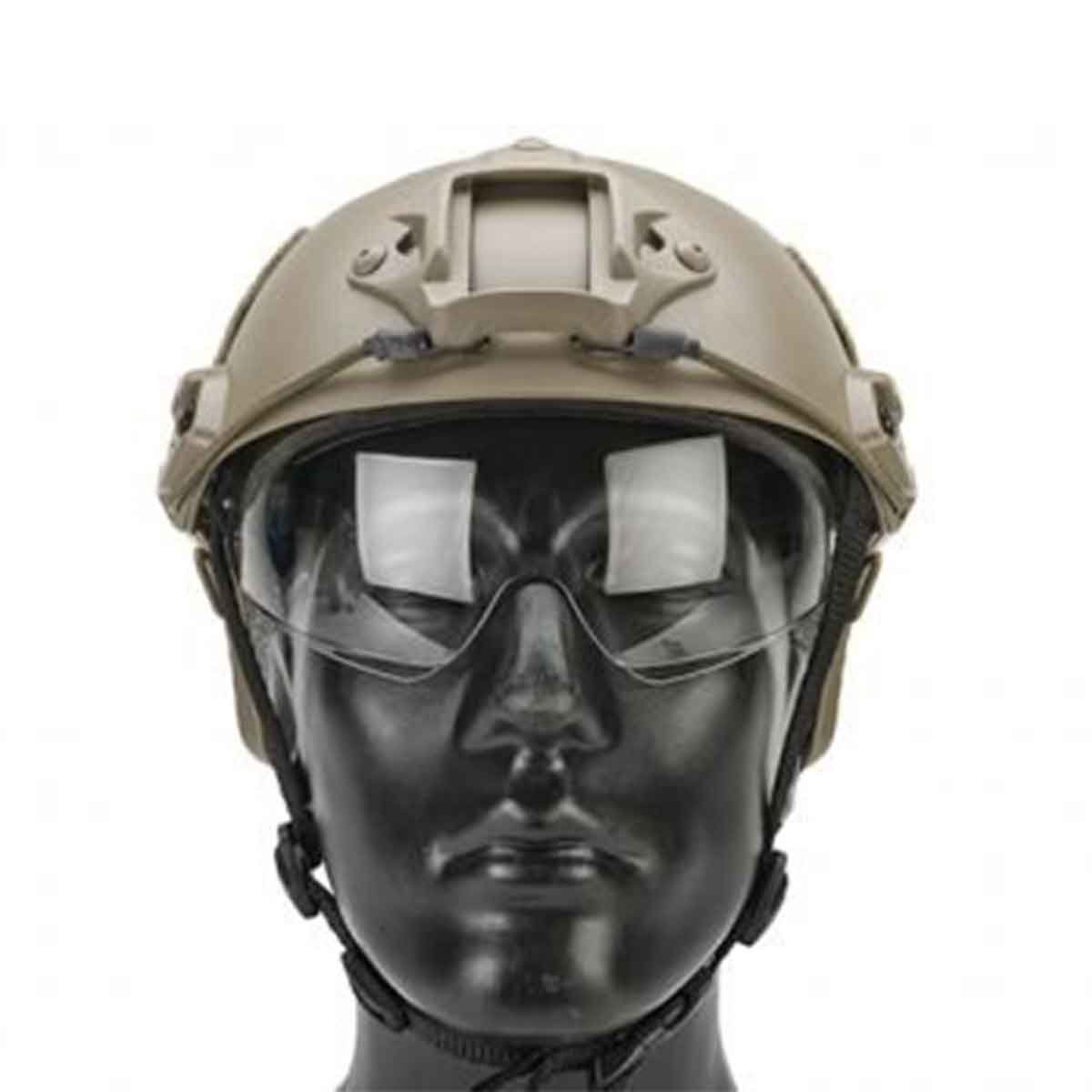 Capacete Tático Recreativo Emerson Gear c/ Lente Flip Down - Tan