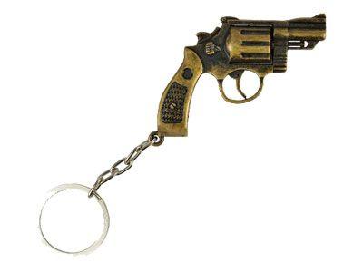 Chaveiro Metal Revolver 38 Bronze