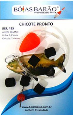 Chicote Boias Barão Pronto P/ Pesca de Superfície 1 Peça C/ 2 Metros Preto