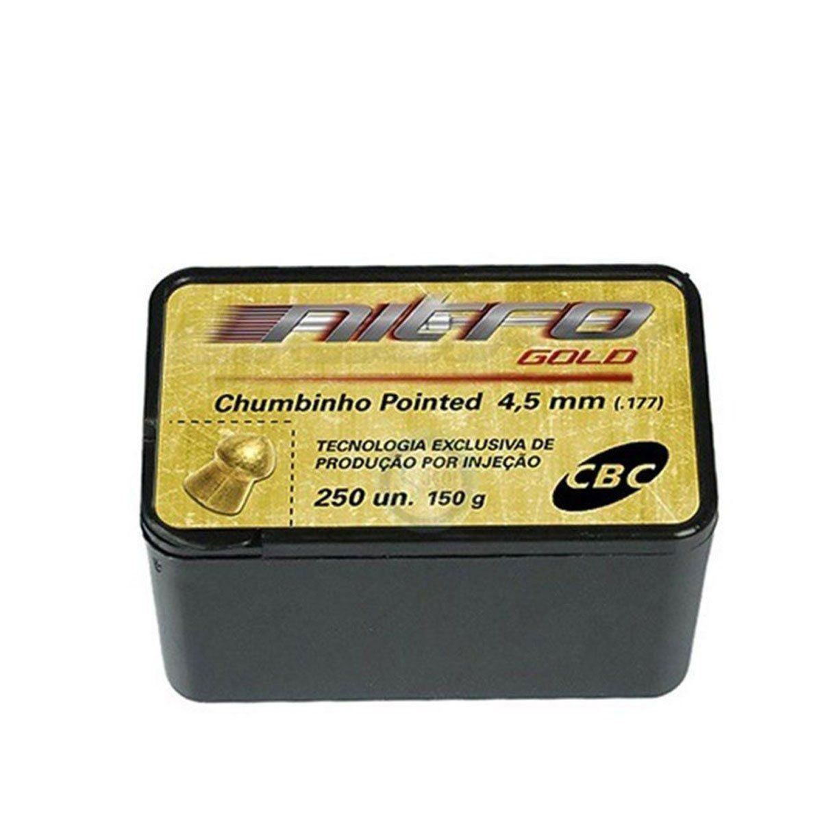 Chumbinho CBC Pointed Nitro Gold 4,5mm 250 unidades