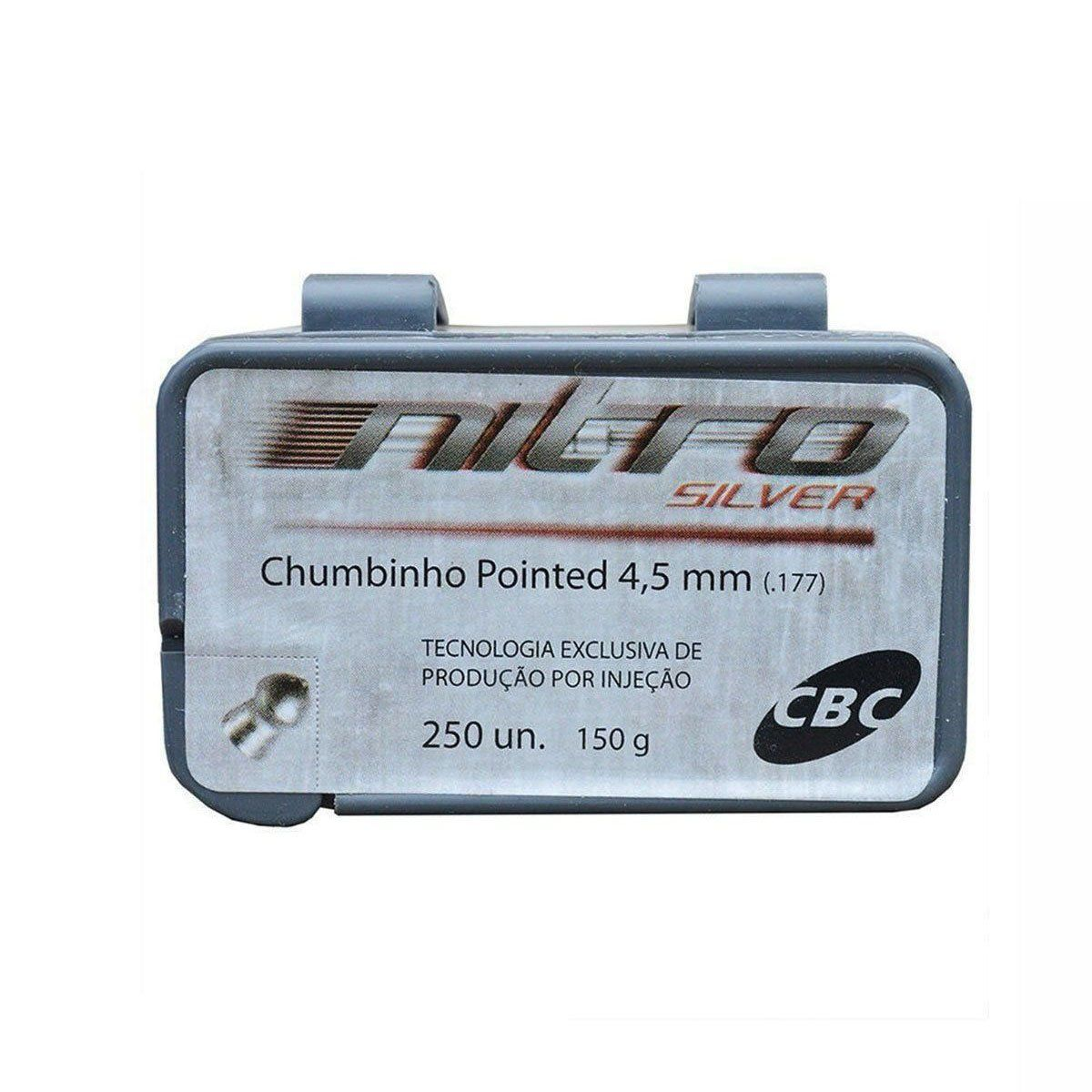 Chumbinho CBC Pointed Nitro Silver 4,5mm 250 unidades