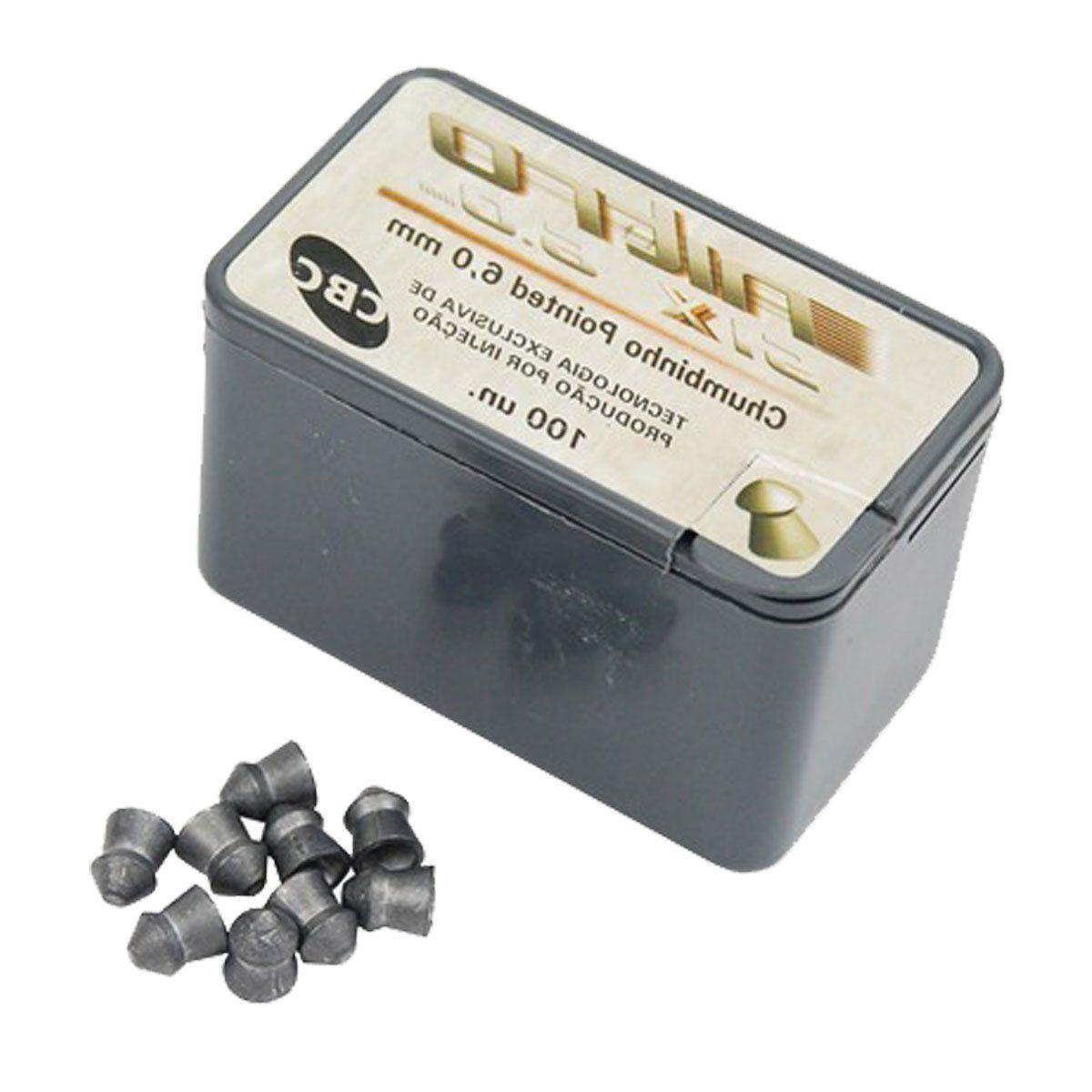 Chumbinho CBC Pointed Nitro Silver 6mm 100 unidades