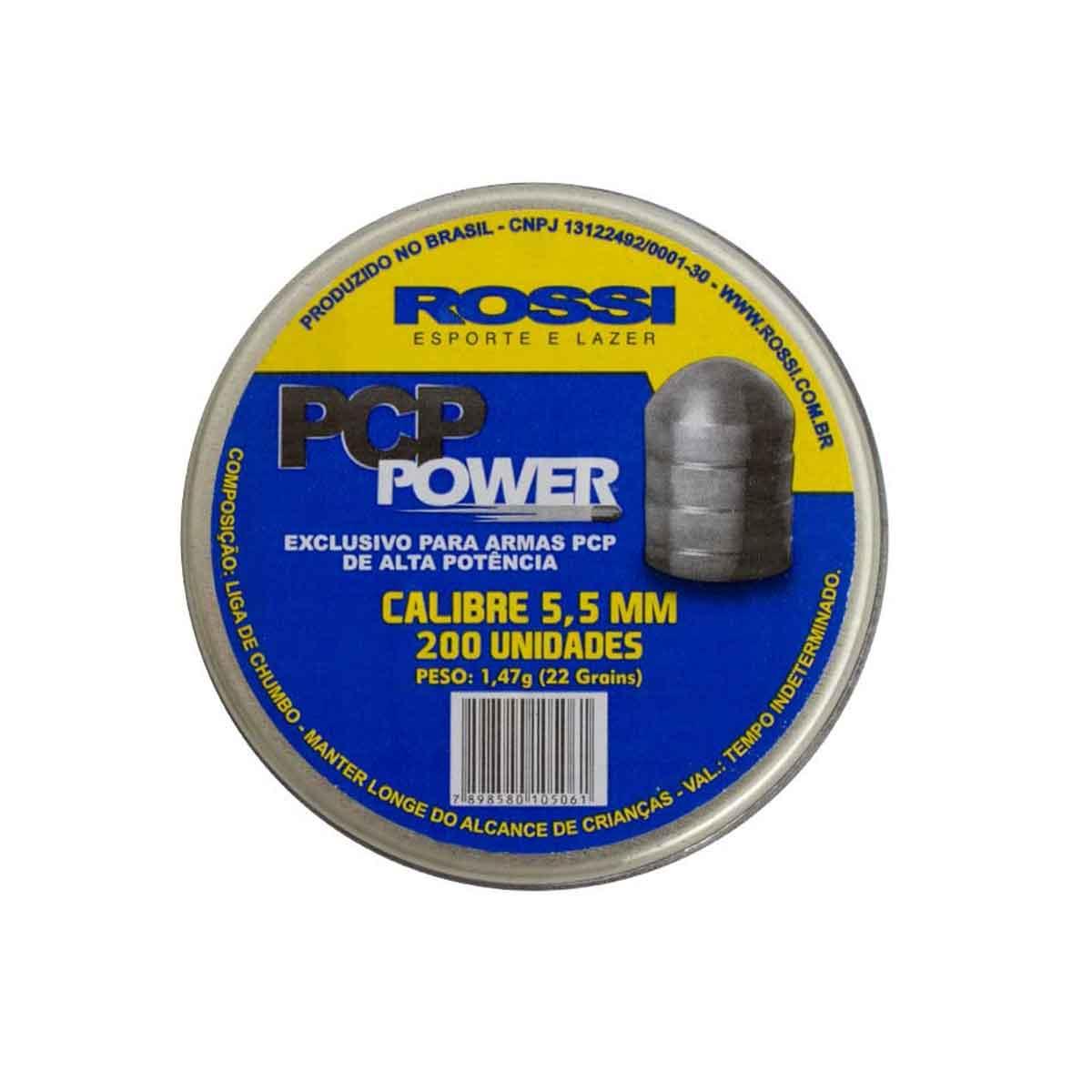 Chumbinho Rossi PCP Power 5,5MM 200 Unidades