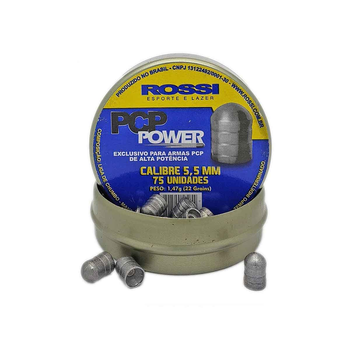 Chumbinho Rossi PCP Power 5,5MM 75 Unidades