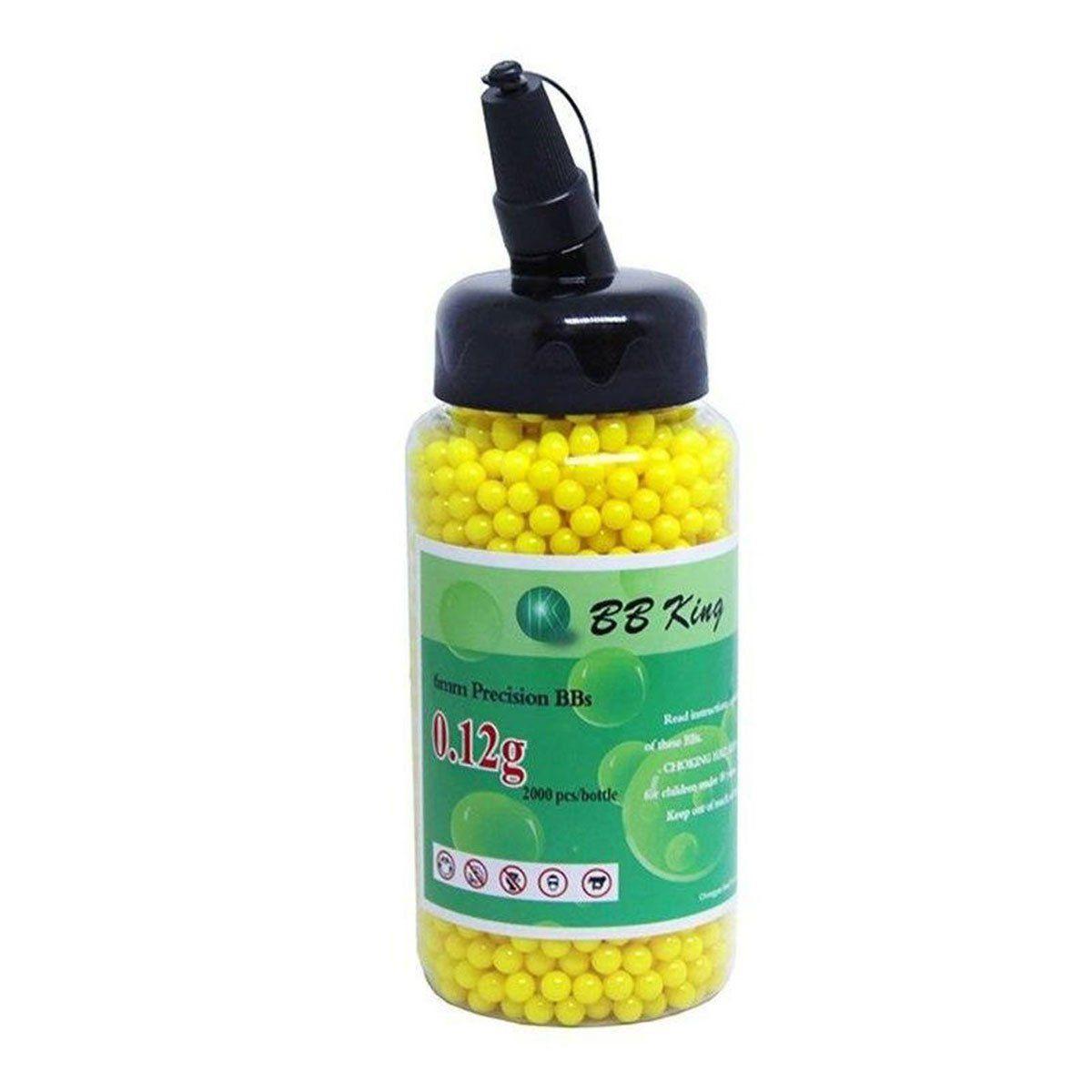 Esferas Plásticas BBs BB King Amarela Calibre 6mm 0,12g 2000un