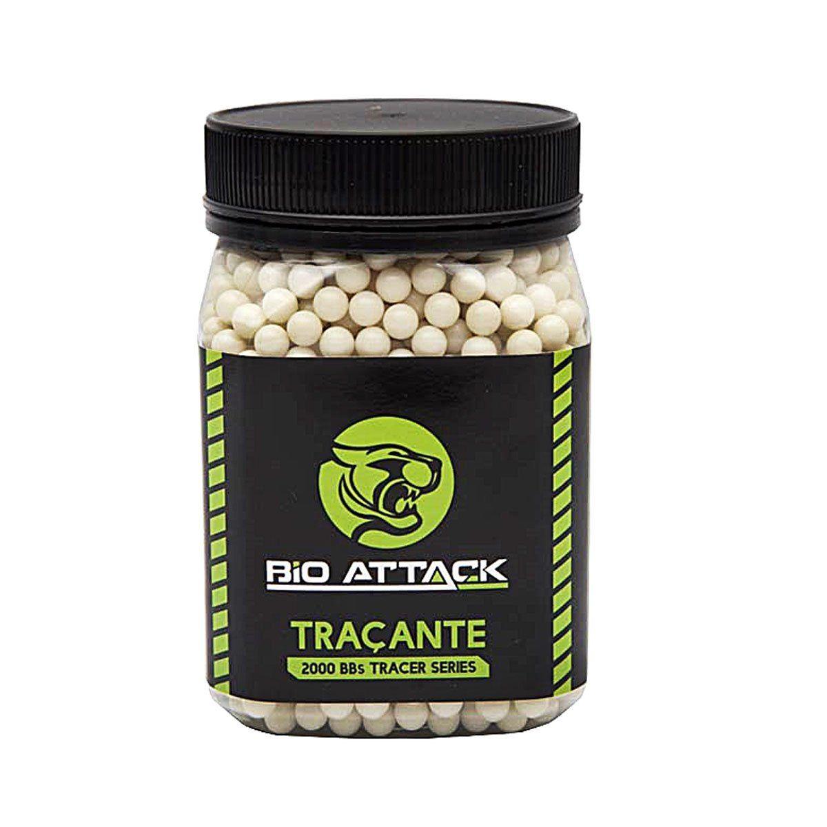Esferas Plásticas BBs Bio Attack Traçante 6mm 0,20g 2000un