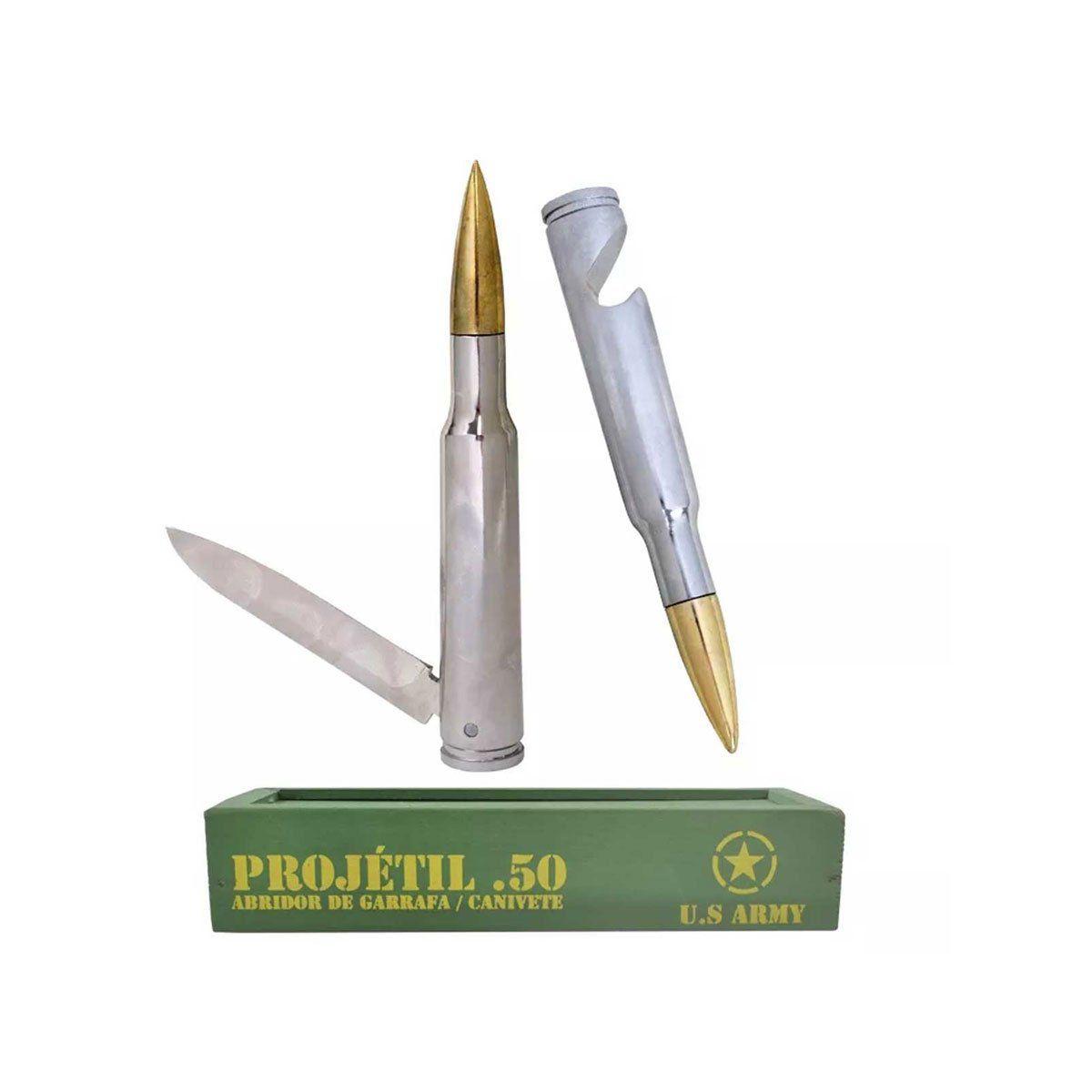 Kit Abridor de Garrafa e Canivete Projetil .50 Bélica