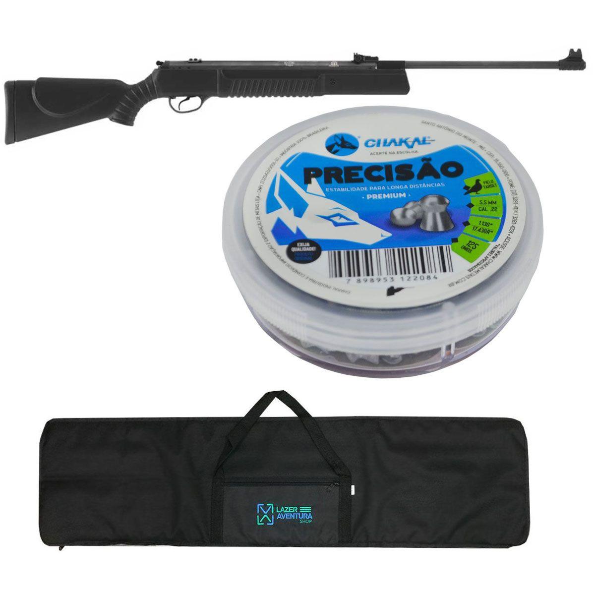 Kit Carabina 5,5mm + Chumbinho 5,5mm + Capa Lazer e Aventura