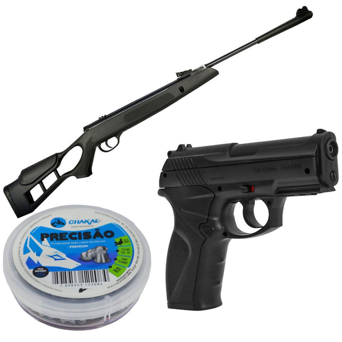 Kit Carabina 5,5mm + Chumbinho 5,5mm + Pistola C11 4,5mm