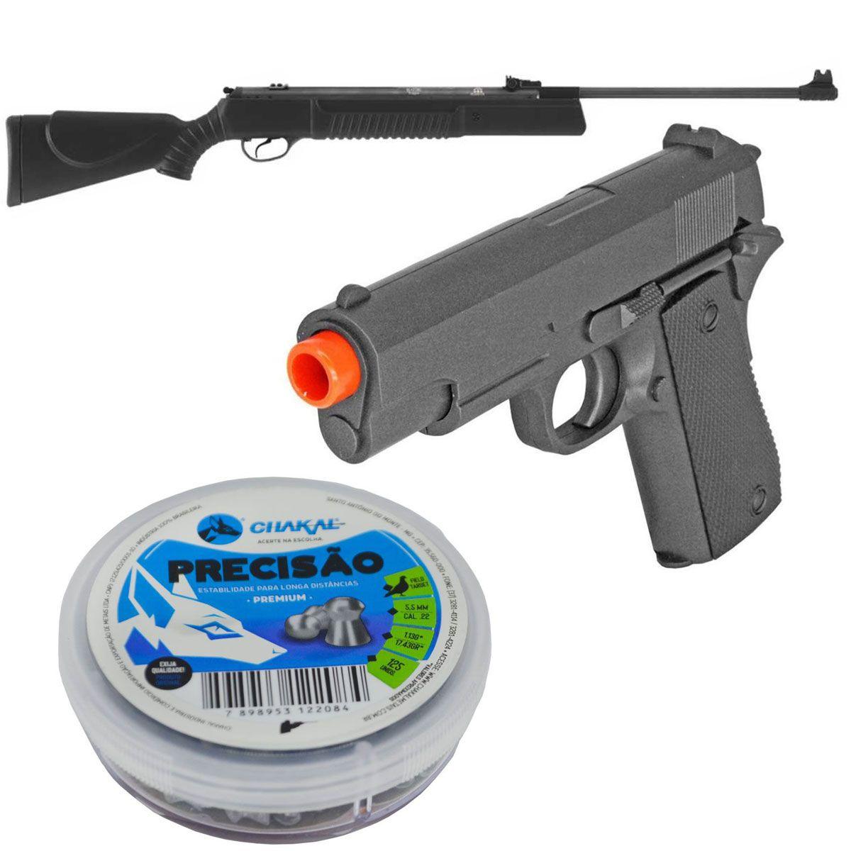 Kit Carabina 5,5mm + Chumbinho 5,5mm + Pistola ZM0