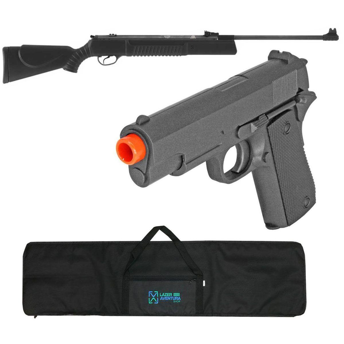 Kit Carabina 5,5mm + Pistola ZM04 + Capa Lazer e Aventura
