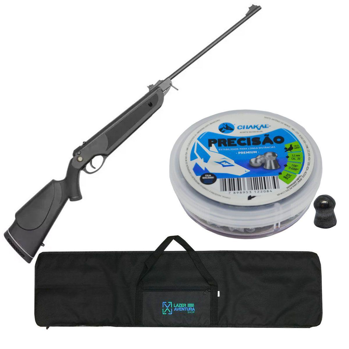 Kit Carabina Dione 5,5mm + Chumbinho 5,5mm + Capa Lazer e Aventura