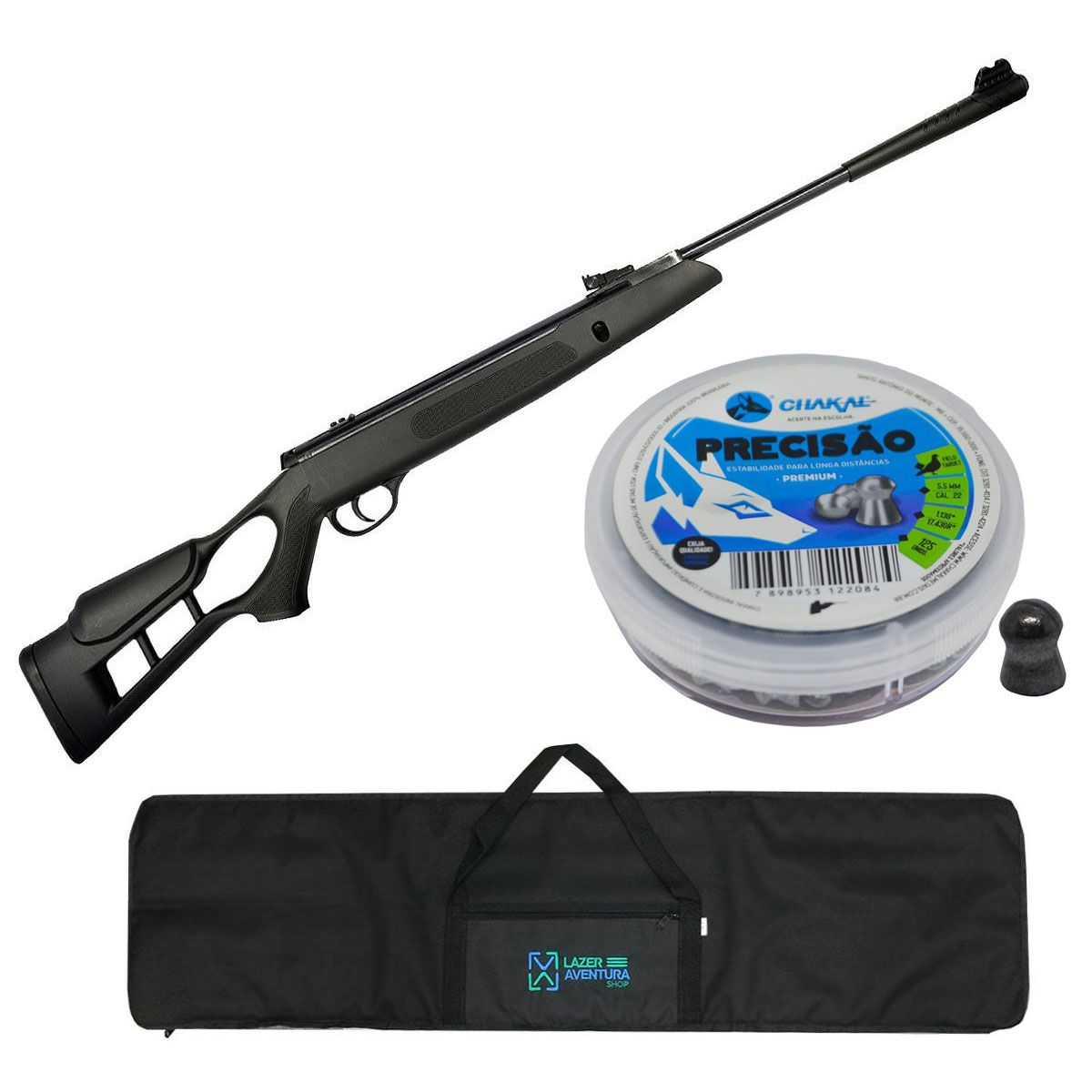 Kit Carabina Hatsan 5,5mm + Chumbinho Pressao 5,5mm + Capa Lazer e Aventura