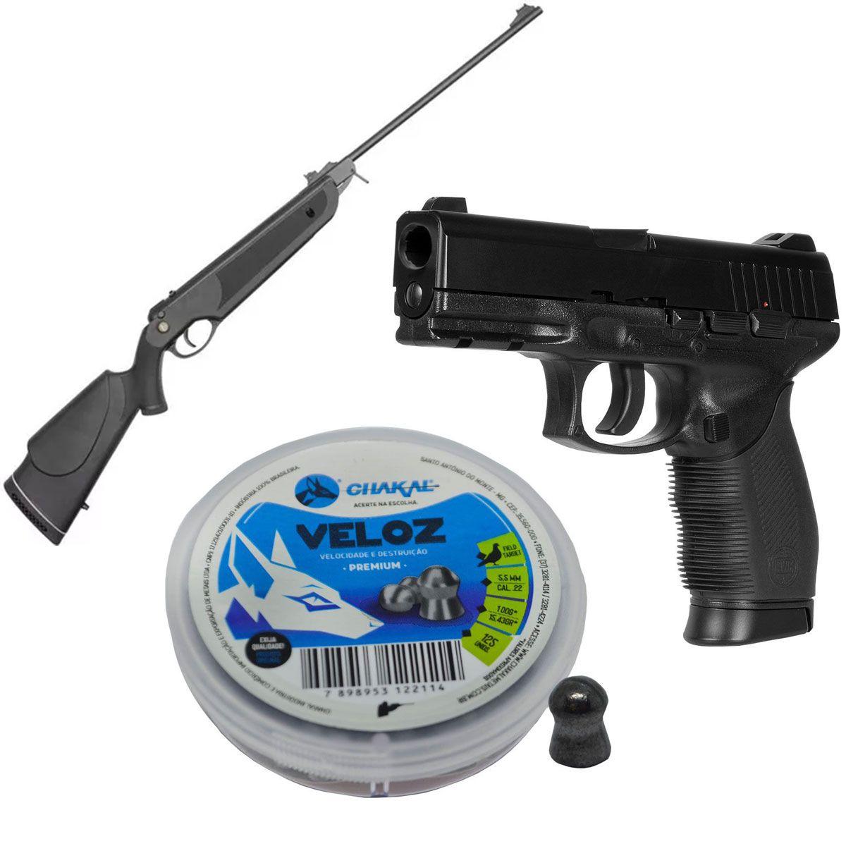 Kit Carabina Nova Dione 5,5mm + Chumbinho + Pistola 4,5mm