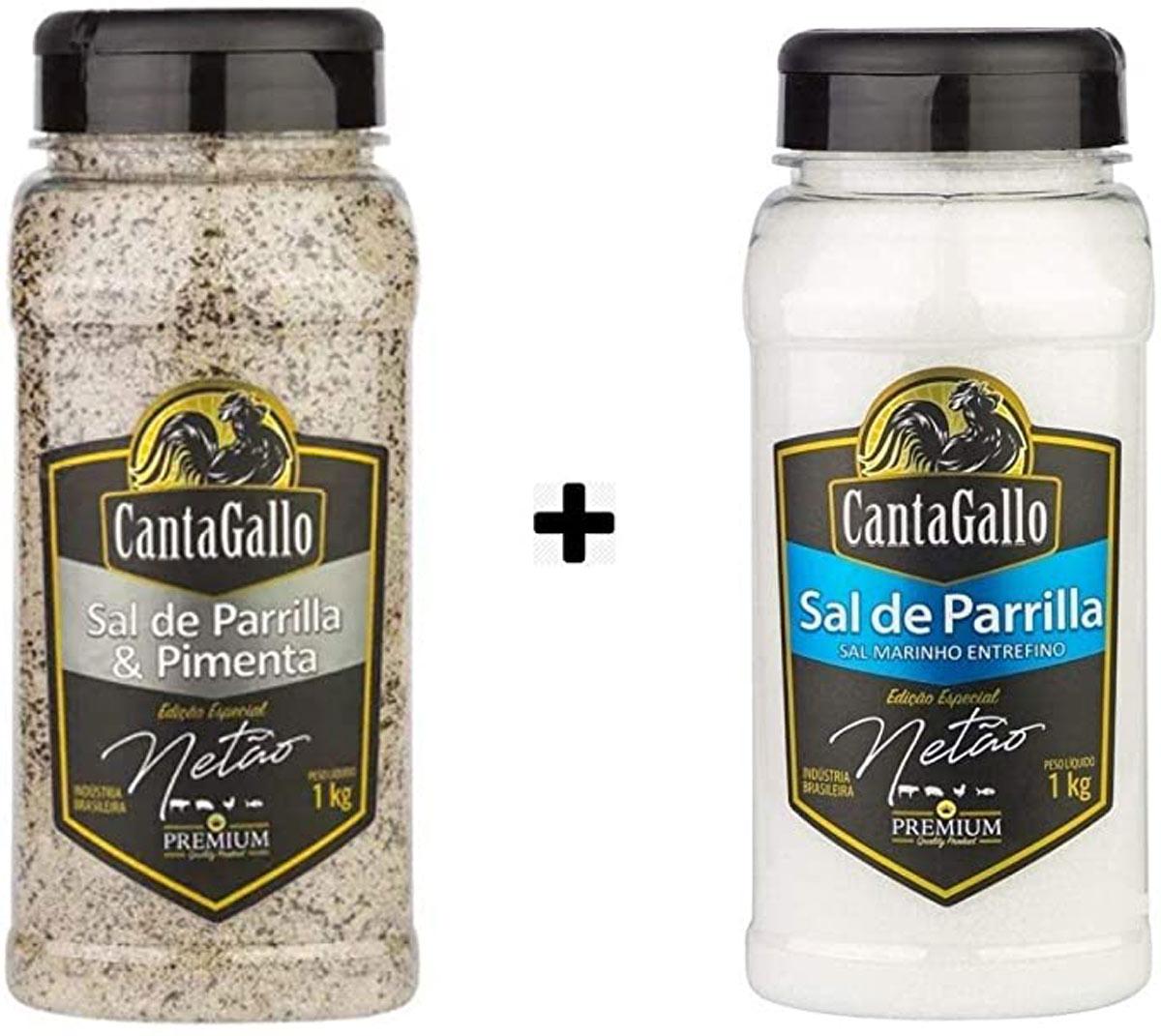 Kit para Churrasco Netão com 2 Unidades - Sal de Parrilla e Sal de Parrilla com Pimenta
