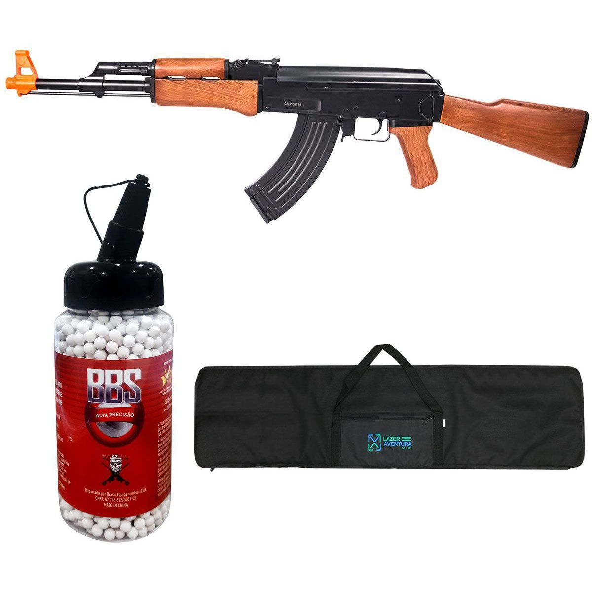 Kit Rifle Cyma AK47 + BB King 0,20g + Capa Lazer e Aventura