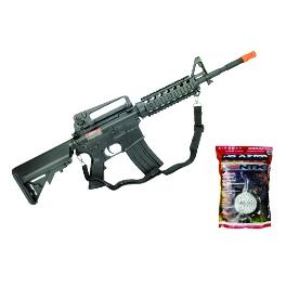 Kit Rifle de Airsoft Cyma M4A1 RIS CM507 Elétrico Bivolt 6mm + BBS 0.20g