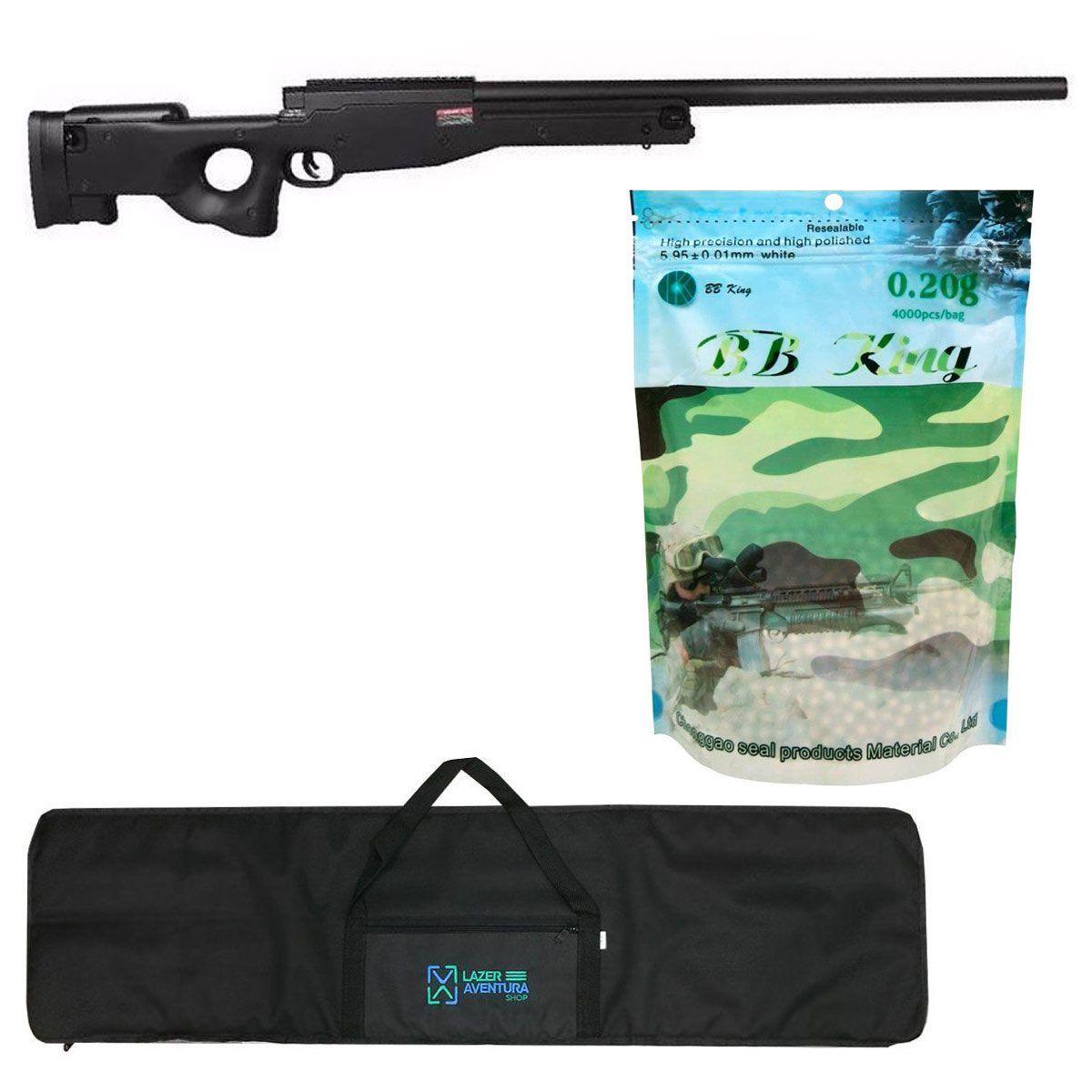 Kit Sniper Evo L96 Preto + BB King 0,20g + Capa Lazer e Aventura