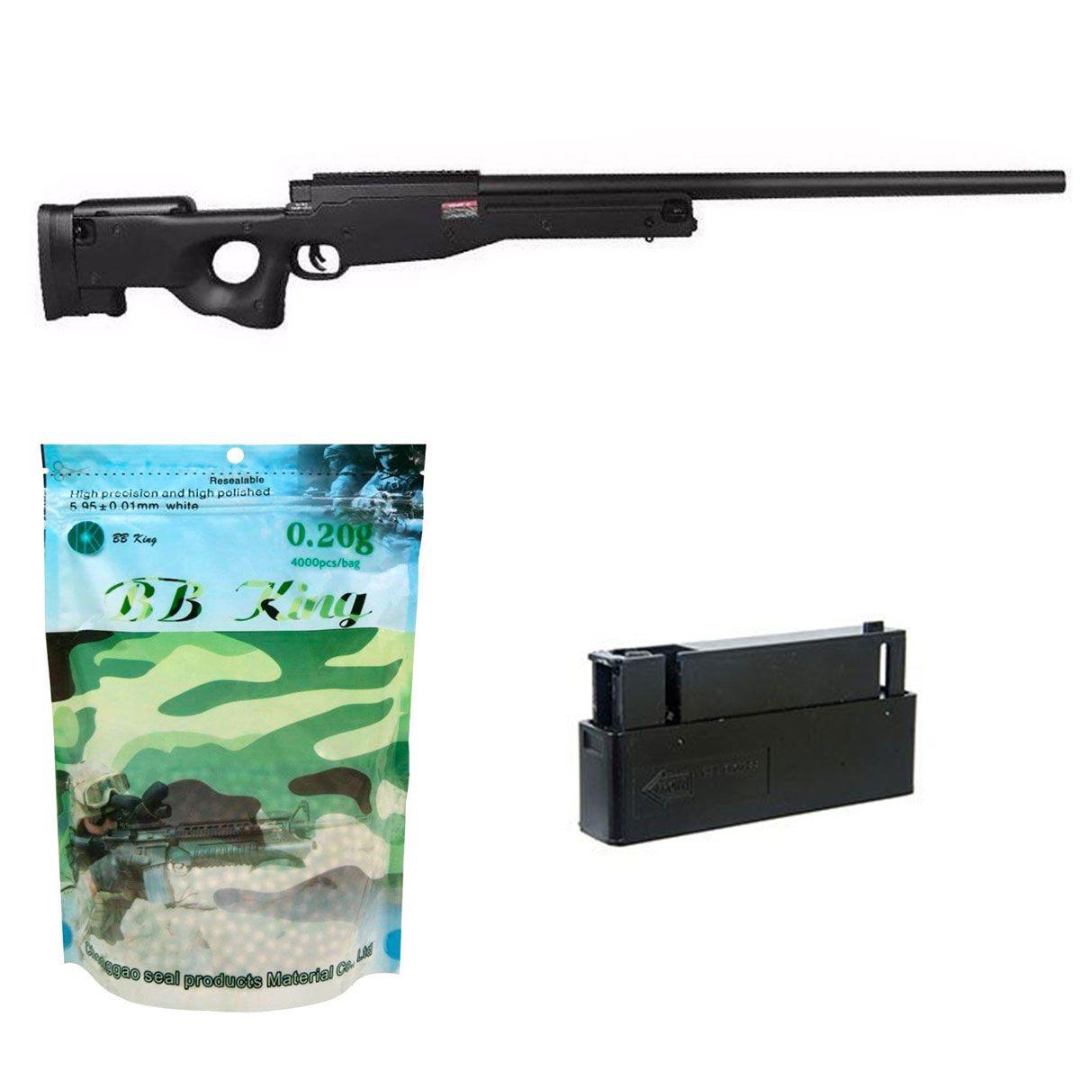 Kit Sniper Evo L96 Preto + BB King 0,20g + Mag Extra