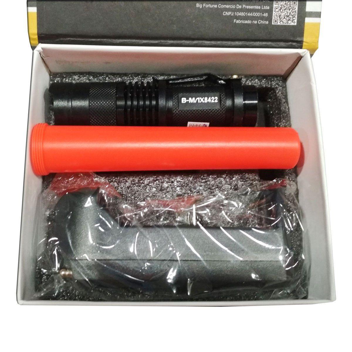 Lanterna Tática B-Max Swat BM-8422 Recarregável com Sinalizador