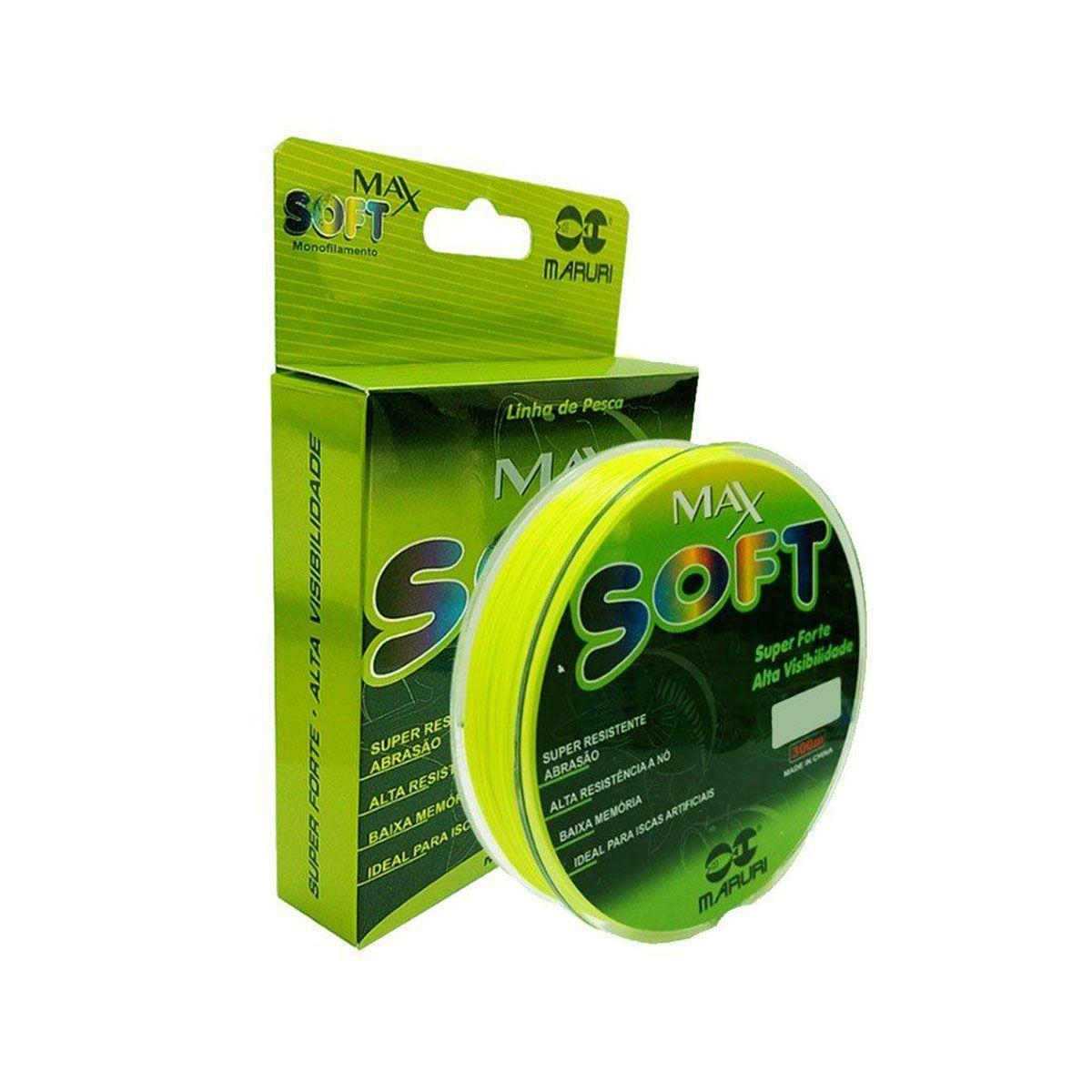 Linha Maruri Monofilamento Max Soft Verde Limão 18LB 0,37mm 300m