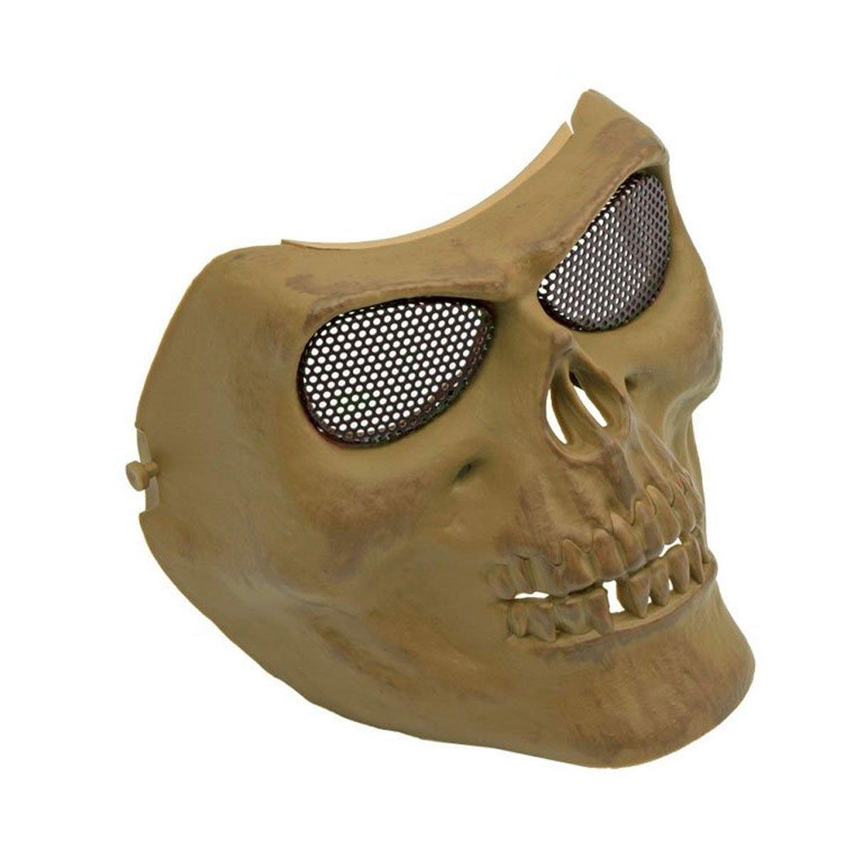Máscara de proteção SRC Caveira / Skull Tan c/ Malha metalica - Preta