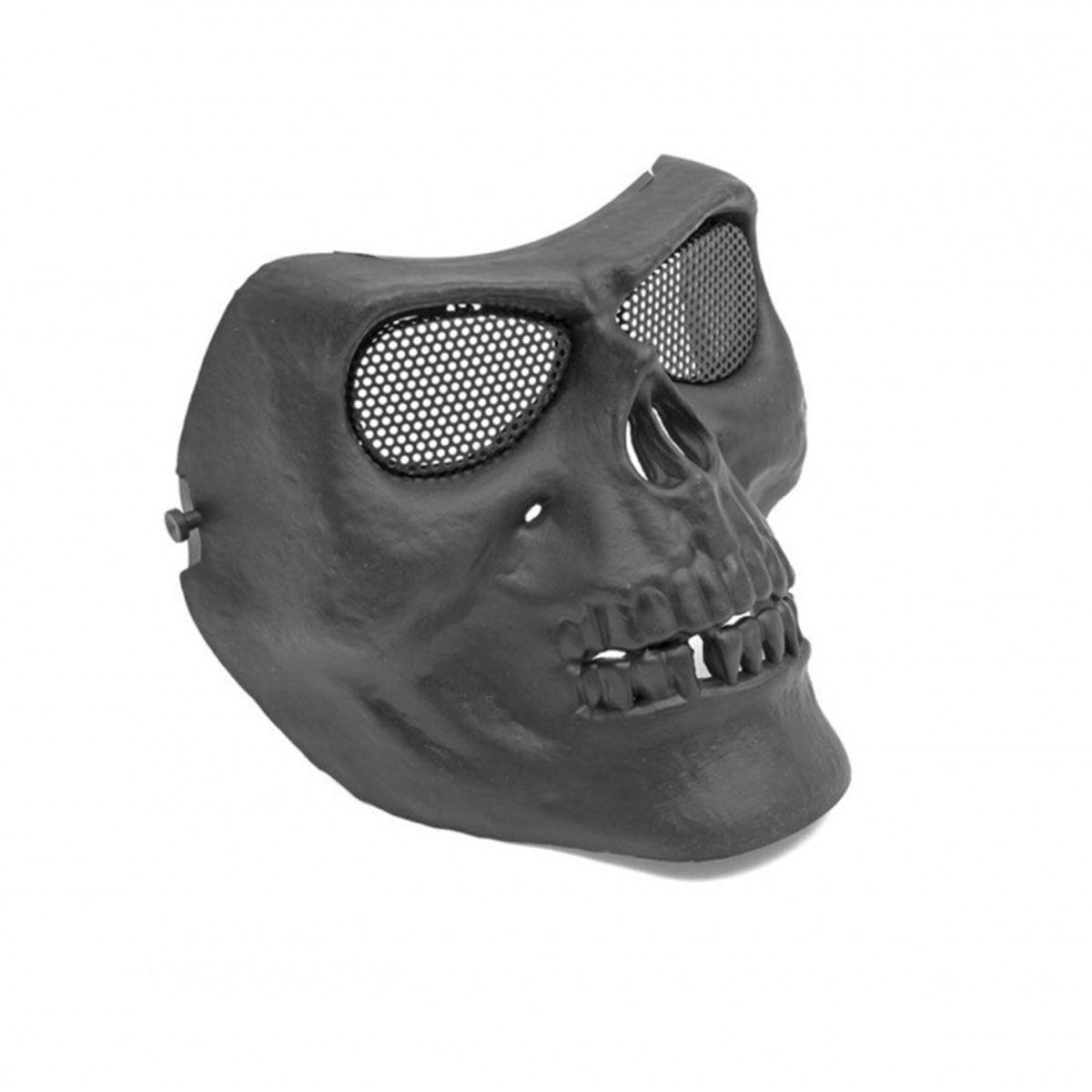 Máscara Tática de Caveira Preta Abs Tela de Metal HY048