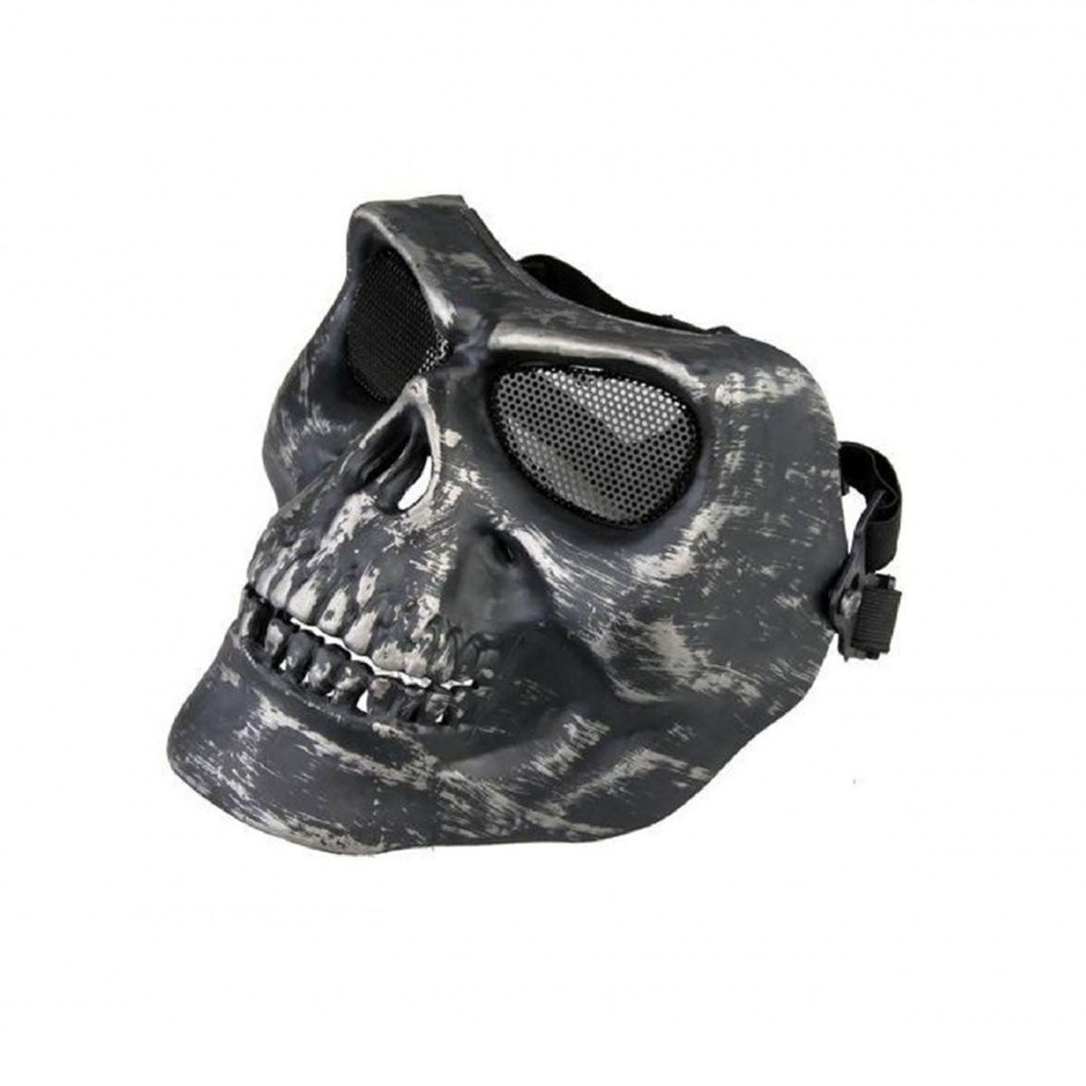 Máscara Tática de Caveira Preta Cromo ABS Tela de Metal HY051P